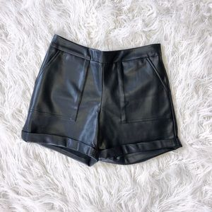 Vegan Leather Shorts with Pockets